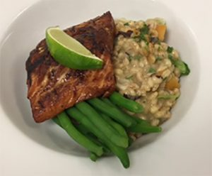 Charred asian salmon fillet